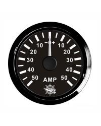 Ampèremètre 50A - cadran noir - lunette noire - 12/24V
