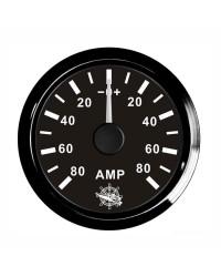Ampèremètre 80A - cadran noir - lunette noire - 12/24V
