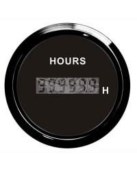 Compte-heures numérique - cadran noir - lunette noire - 12/24 v