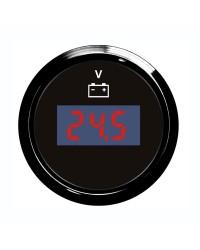 Voltmètre numérique - cadran noir - lunette noire - 12/24V