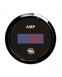 Ampèremètre numérique - cadran noir - lunette noire - 12/24V
