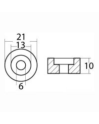 Anode rondelle hors bord Ø21x10 mm aluminium