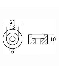 Anode rondelle hors bord Ø21x10 mm magnésium