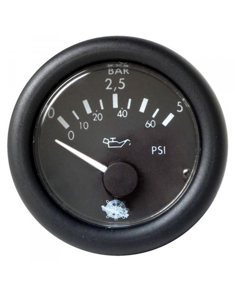 Indicateur de pression d`huile 0-5 bar - 24V - noir