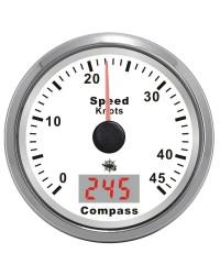 Speedomètre avec antenne GPS - cadran blanc - lunette polie - 12V