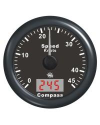 Speedomètre avec antenne GPS - cadran noir - lunette noire - 12V