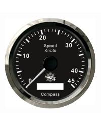 Speedomètre avec antenne GPS - cadran noir - lunette polie - 12V