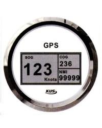Speedomètre avec antenne GPS - cadran blanc - lunette polie - 12/24V