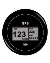 Speedomètre avec antenne GPS - cadran noir - lunette noire - 12/24V