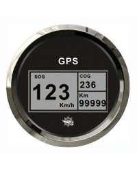 Speedomètre avec antenne GPS - cadran noir - lunette polie - 12/24V