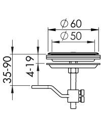 Lève-plancher inox +  serrure ø60 mm