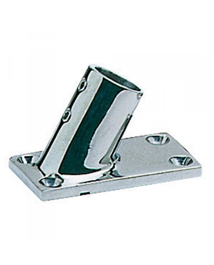 Platine inox rectangle inclinée 60° - 25 mm
