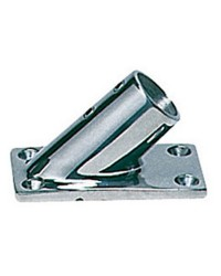 Platine inox rectangle inclinée 45° - 22 mm