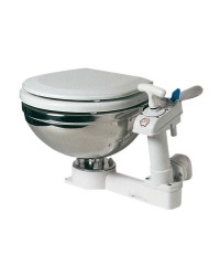 WC manuel cuvette inox - lunette bois laqué blanc