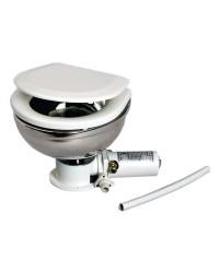 WC électrique - cuvette inox lunette bois laqué blanc 24 V