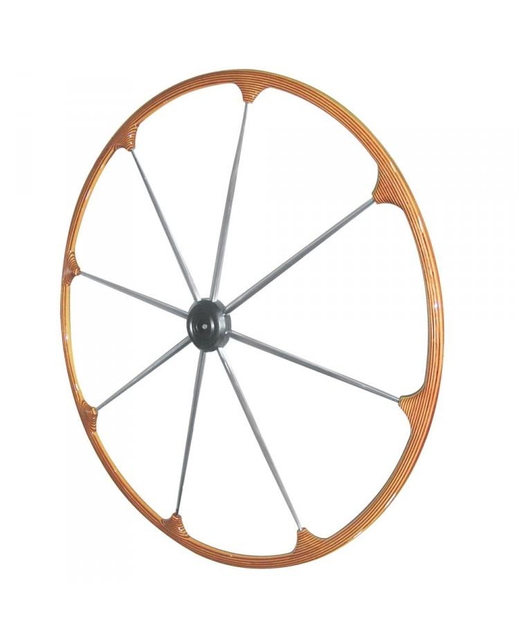 Barre à roue - Couronne en teck - branches inox - Ø1000 mm