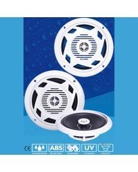 Haut parleur DISCO - la paire - 180 W - blanc - avec LED bleues