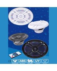 Haut parleur BLUES - la paire - 180 W - blanc - avec LED muliticolore