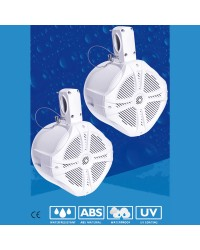 Haut parleur WAKETOWER BOOST - la paire - 120 W amplifié - blanc