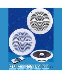 Haut parleur POP - la paire - 120 W - blanc - avec LED