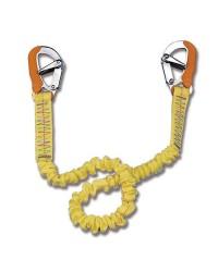 Longe double sécurité élastique - 2 mousquetons