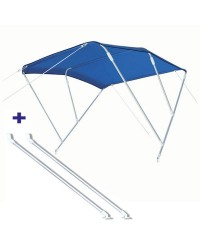 Pack Bimini 3 arc. alu - bleu - 185/205 cm - h 140 cm Ø 20 mm + bras support