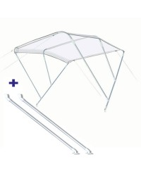 Pack Bimini 3 arc. alu - blanc - 170/190 cm - h 140 cm Ø 20 mm + bras support