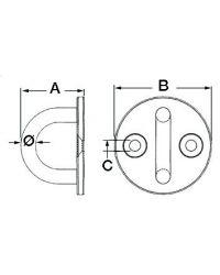 Pontet inox embase circulaire 50 mm - ø 8 mm
