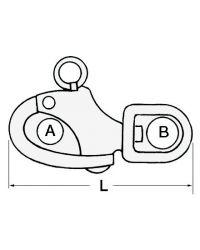 Mousqueton à oeil émerillon - inox - 128 mm