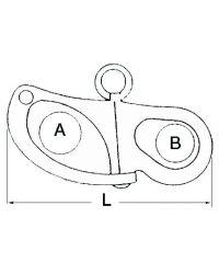 Mousqueton à oeil - inox - 52 mm